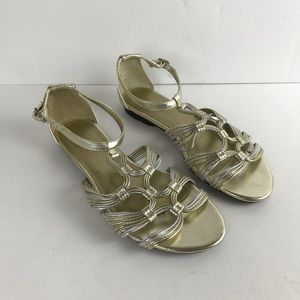 Chaps Womens Gold Silver Strappy Sandals Sz 6.5 B